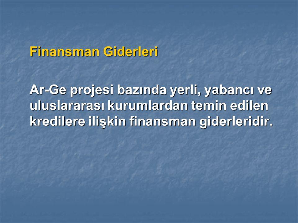 Finansman Giderleri Ar-Ge projesi bazında yerli, yabancı ve uluslararası kurumlardan temin edilen kredilere ilişkin finansman giderleridir.
