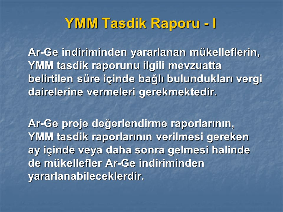 YMM Tasdik Raporu - I