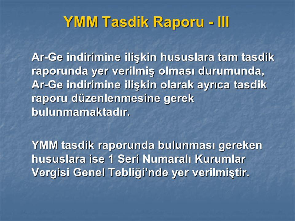 YMM Tasdik Raporu - III