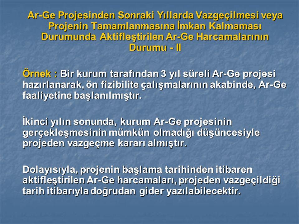 Ar-Ge Projesinden Sonraki Yıllarda Vazgeçilmesi veya Projenin Tamamlanmasına İmkan Kalmaması Durumunda Aktifleştirilen Ar-Ge Harcamalarının Durumu - II