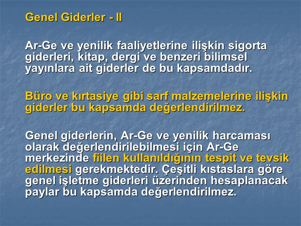 Genel Giderler - II