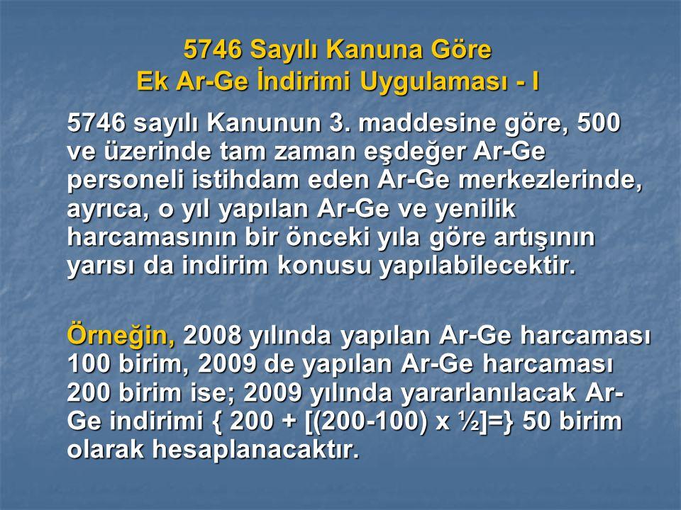 5746 Sayılı Kanuna Göre Ek Ar-Ge İndirimi Uygulaması - I