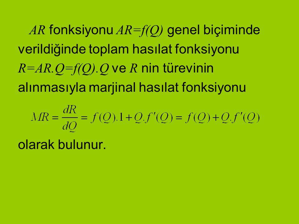 AR fonksiyonu AR=f(Q) genel biçiminde