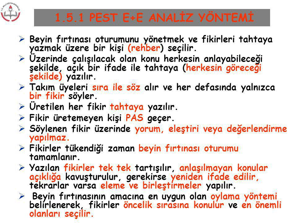 1.5.1 PEST E+E ANALİZ YÖNTEMİ