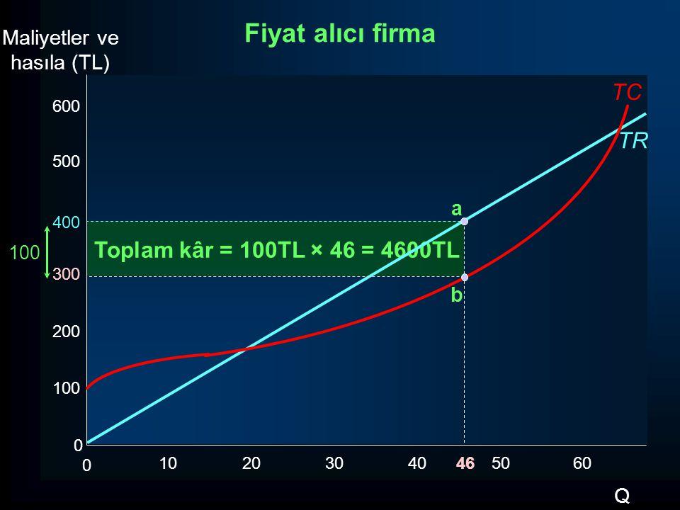 Fiyat alıcı firma TC TR Toplam kâr = 100TL × 46 = 4600TL Maliyetler ve