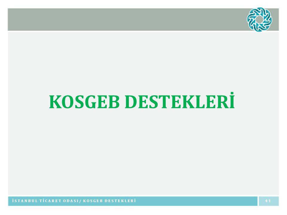 KOSGEB DESTEKLERİ İSTANBUL TİCARET ODASI/ KOSGEB DESTEKLERİ 41