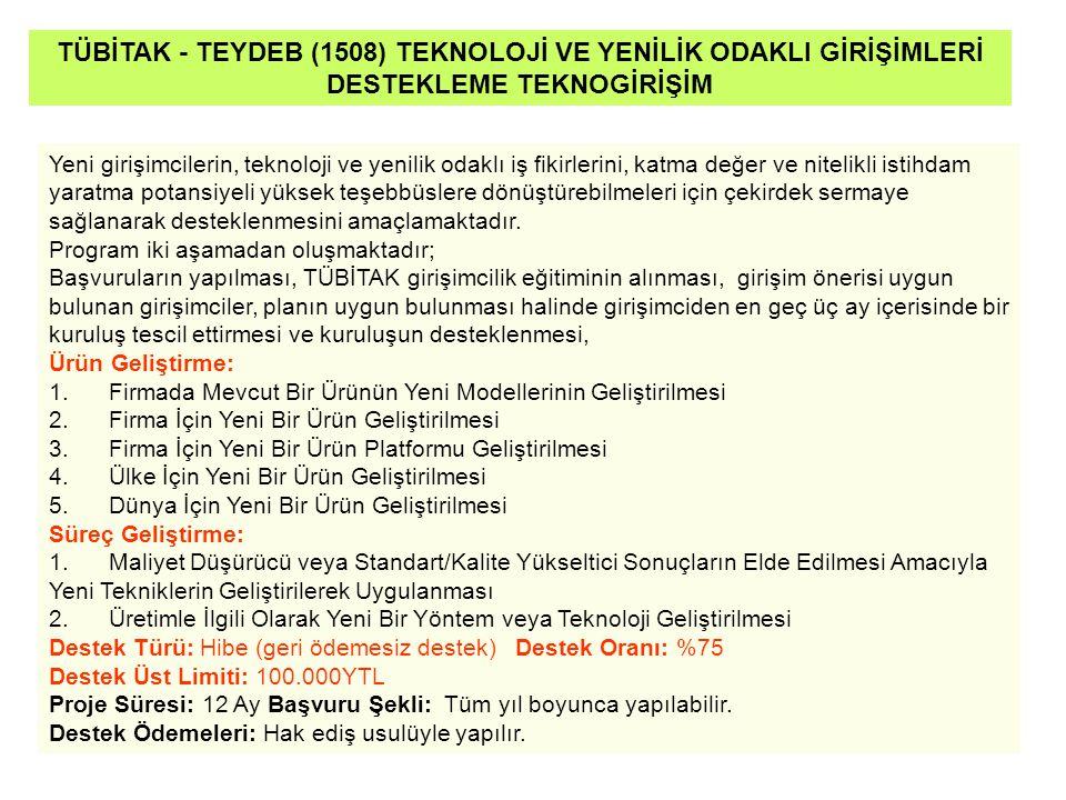 TÜBİTAK - TEYDEB (1508) TEKNOLOJİ VE YENİLİK ODAKLI GİRİŞİMLERİ DESTEKLEME TEKNOGİRİŞİM