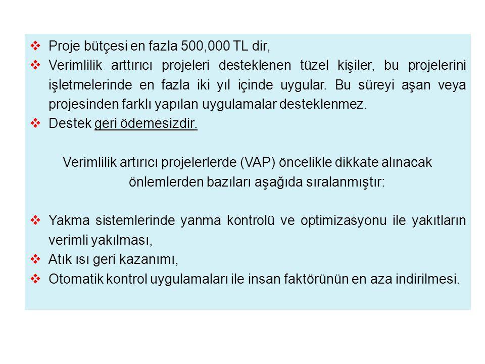 Proje bütçesi en fazla 500,000 TL dir,