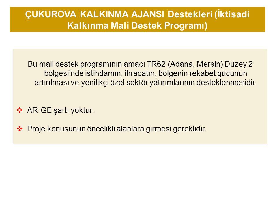 ÇUKUROVA KALKINMA AJANSI Destekleri (İktisadi Kalkınma Mali Destek Programı)