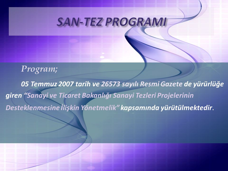 SAN-TEZ PROGRAMI Program;