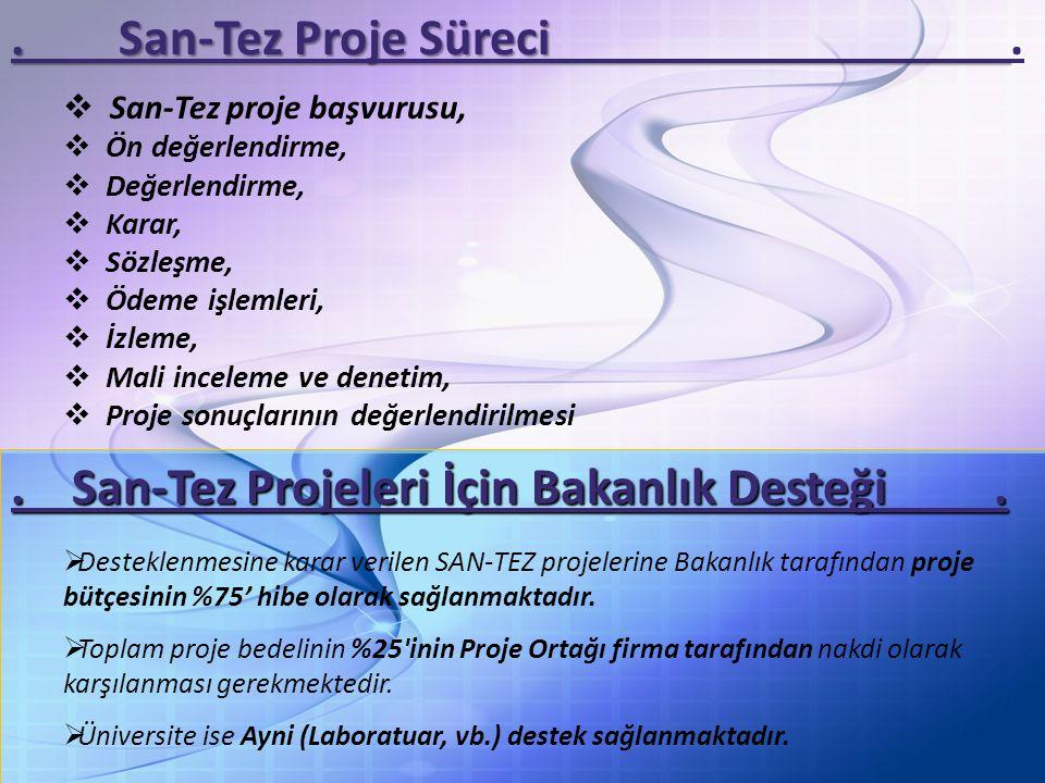 . San-Tez Projeleri İçin Bakanlık Desteği .