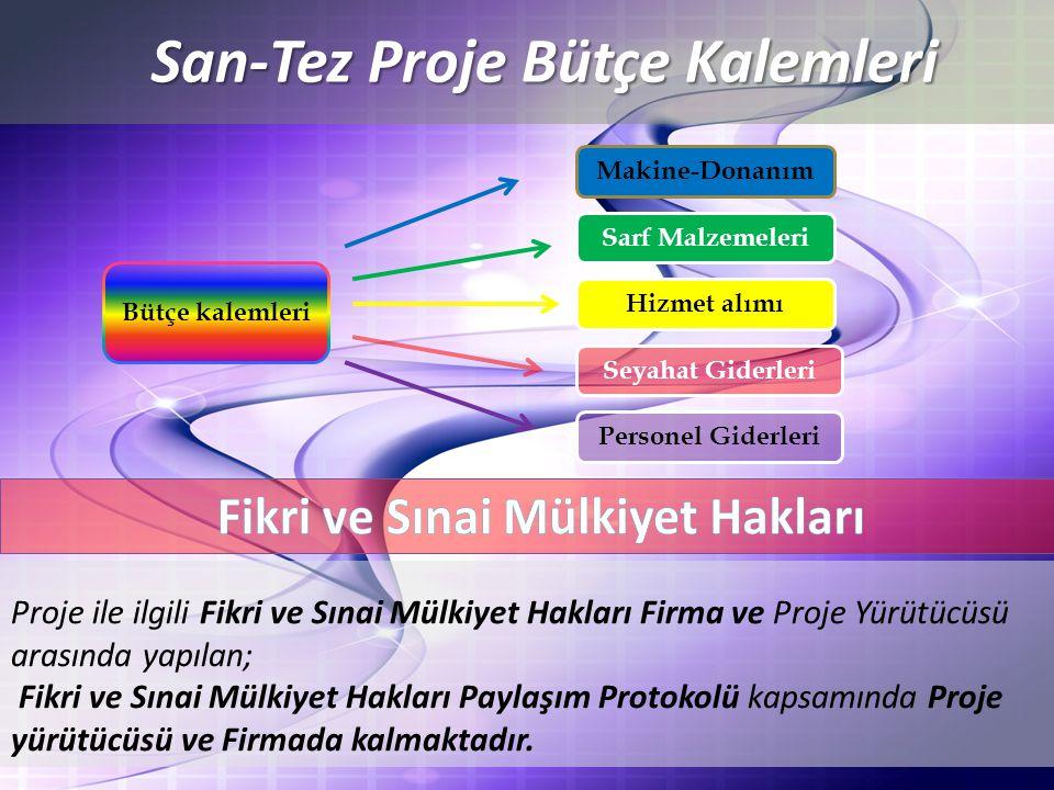 San-Tez Proje Bütçe Kalemleri Fikri ve Sınai Mülkiyet Hakları