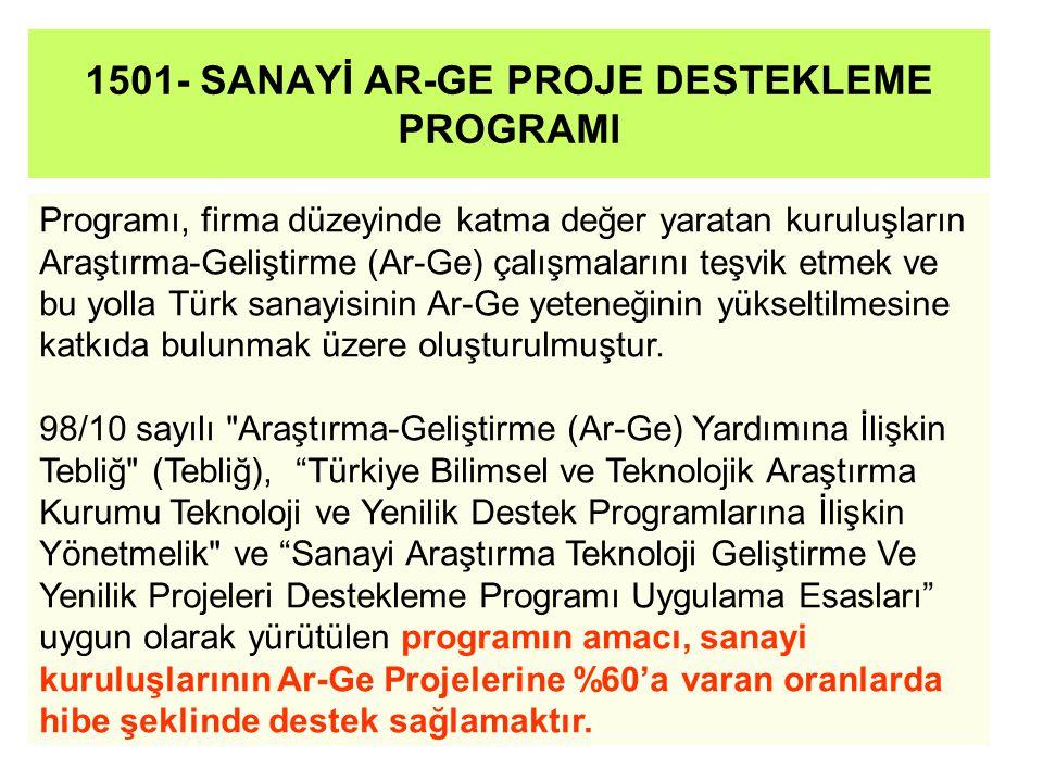 1501- SANAYİ AR-GE PROJE DESTEKLEME PROGRAMI