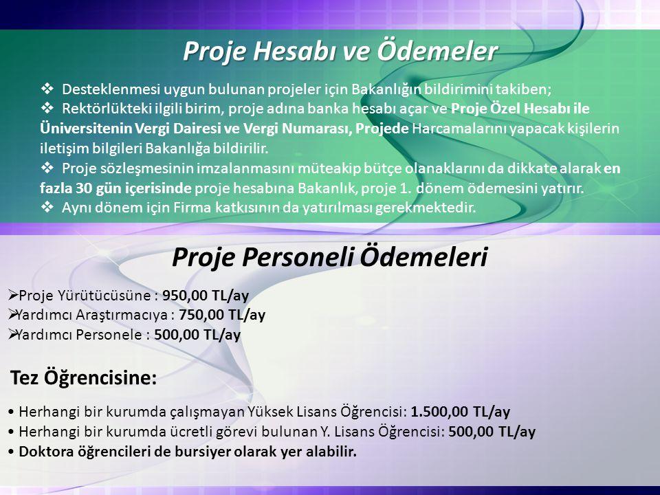 Proje Hesabı ve Ödemeler Proje Personeli Ödemeleri