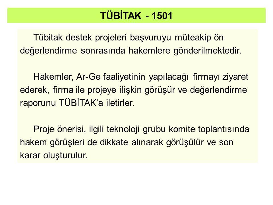 TÜBİTAK - 1501 Tübitak destek projeleri başvuruyu müteakip ön değerlendirme sonrasında hakemlere gönderilmektedir.
