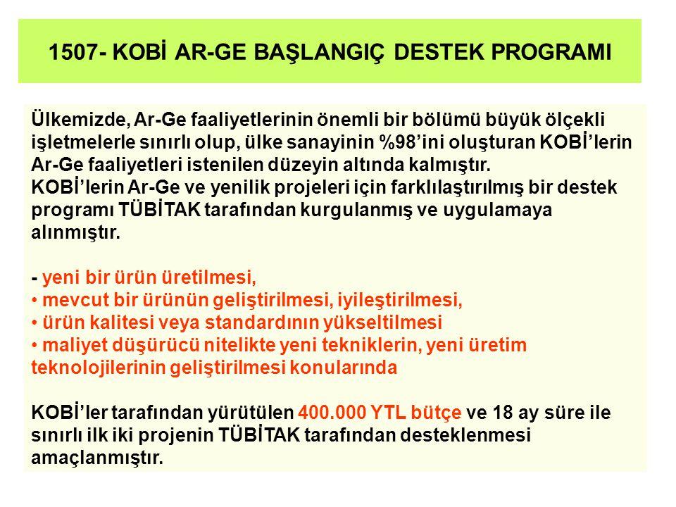 1507- KOBİ AR-GE BAŞLANGIÇ DESTEK PROGRAMI