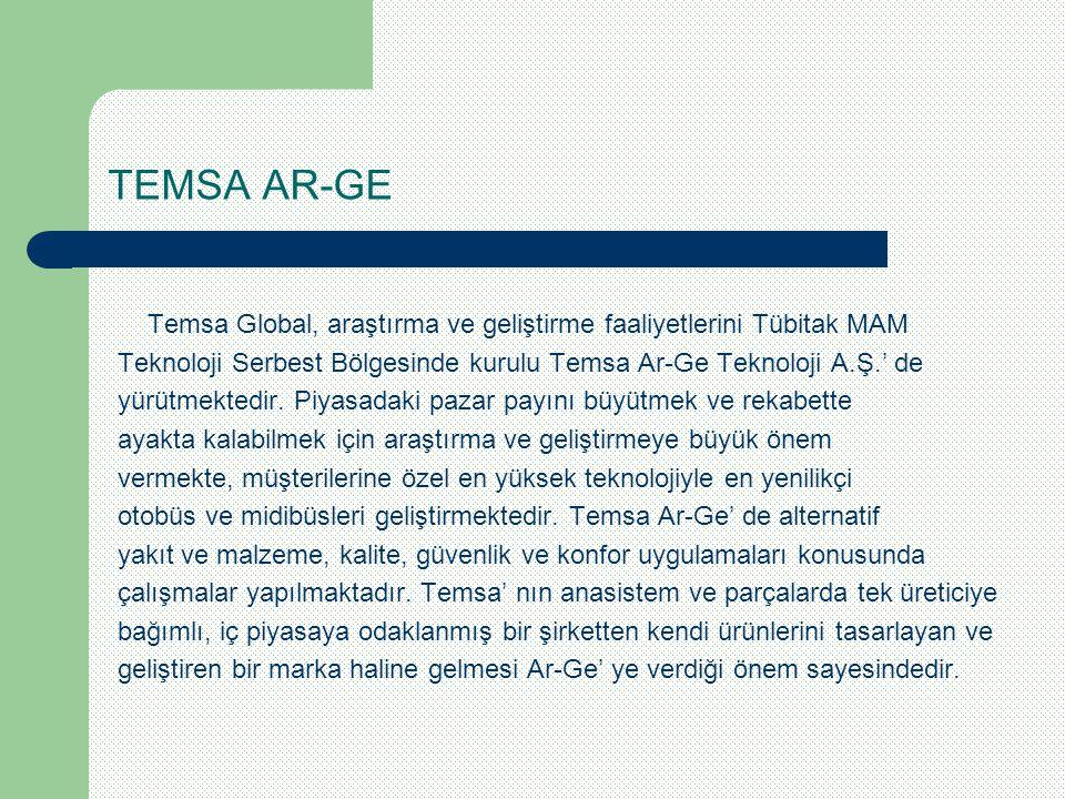 TEMSA AR-GE Temsa Global, araştırma ve geliştirme faaliyetlerini Tübitak MAM. Teknoloji Serbest Bölgesinde kurulu Temsa Ar-Ge Teknoloji A.Ş.' de.