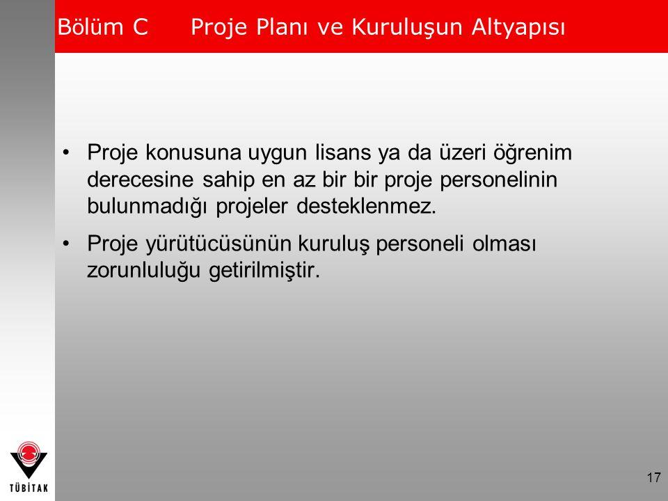 Bölüm C Proje Planı ve Kuruluşun Altyapısı