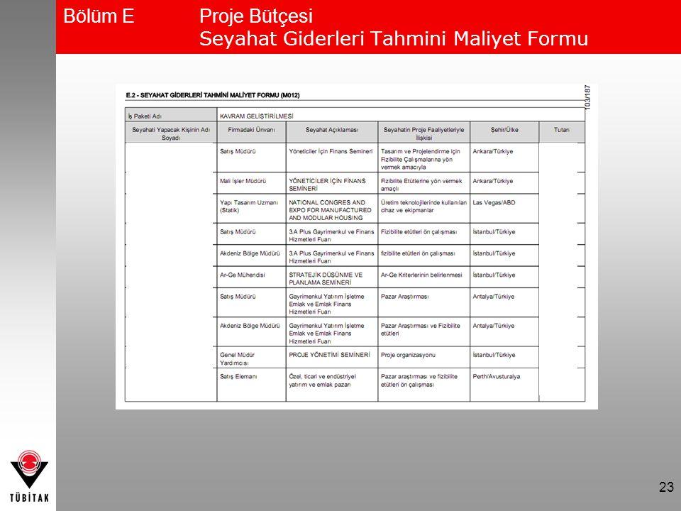 Bölüm E Proje Bütçesi Seyahat Giderleri Tahmini Maliyet Formu