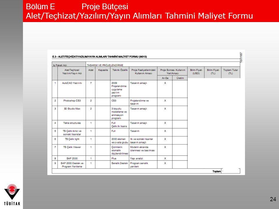 Bölüm E Proje Bütçesi Alet/Teçhizat/Yazılım/Yayın Alımları Tahmini Maliyet Formu