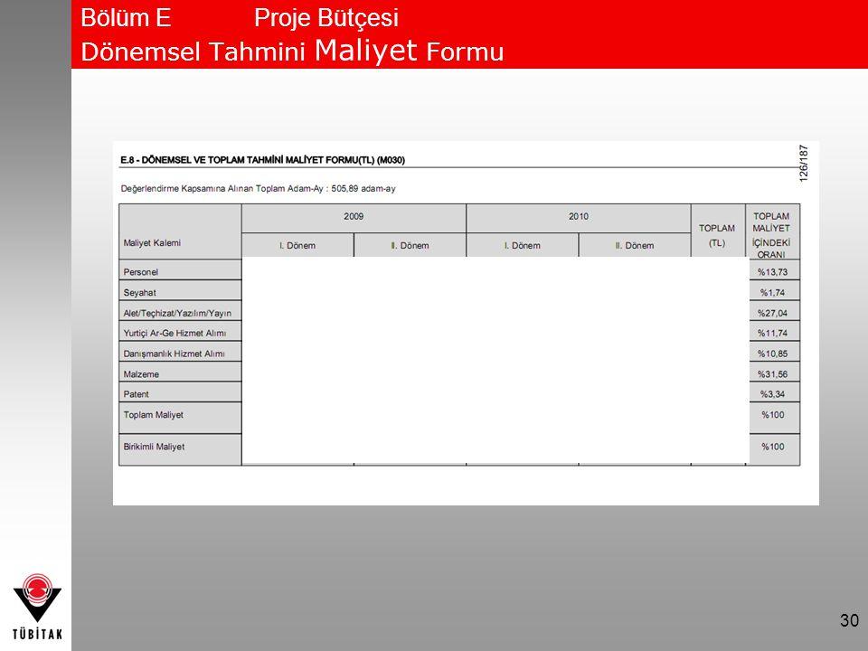 Bölüm E Proje Bütçesi Dönemsel Tahmini Maliyet Formu