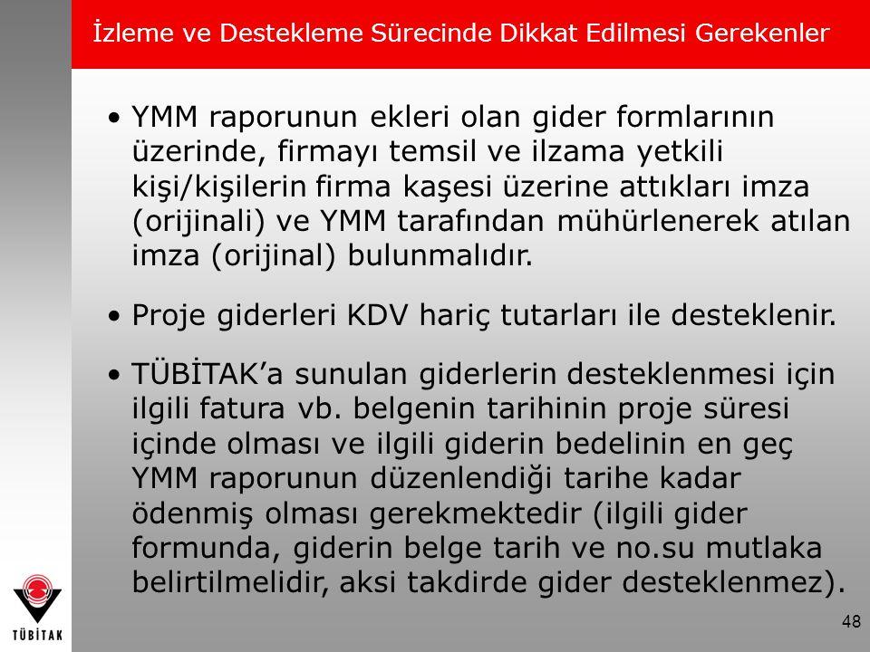 Proje giderleri KDV hariç tutarları ile desteklenir.