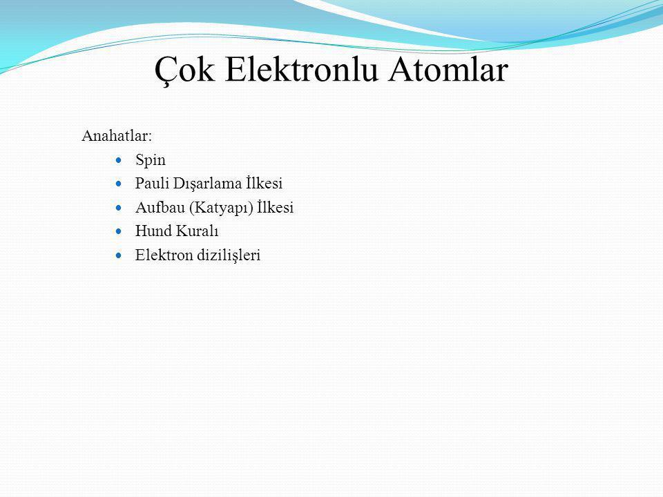 Çok Elektronlu Atomlar