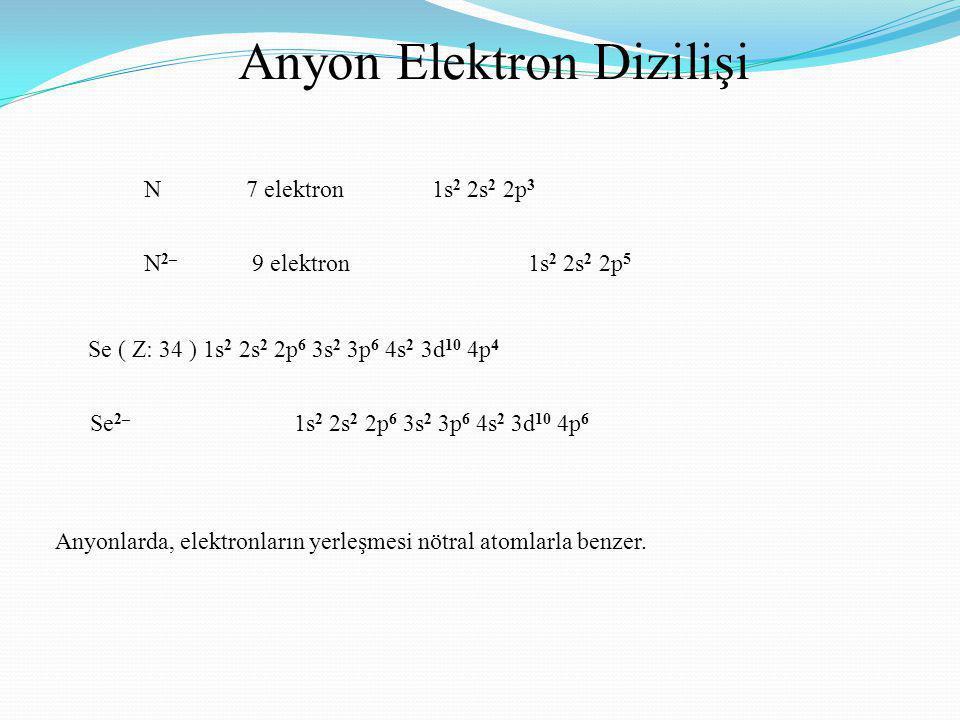 Anyon Elektron Dizilişi