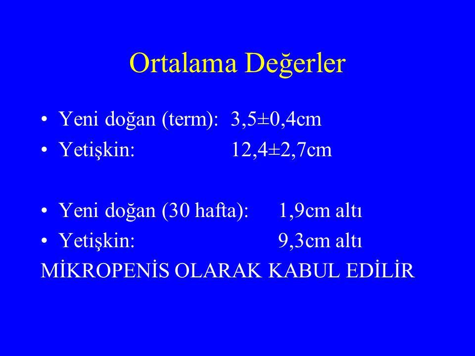 Ortalama Değerler Yeni doğan (term): 3,5±0,4cm Yetişkin: 12,4±2,7cm