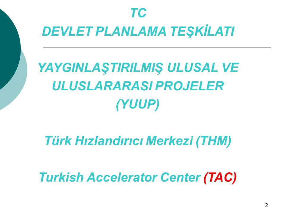 TC DEVLET PLANLAMA TEŞKİLATI YAYGINLAŞTIRILMIŞ ULUSAL VE ULUSLARARASI PROJELER (YUUP) Türk Hızlandırıcı Merkezi (THM) Turkish Accelerator Center (TAC)