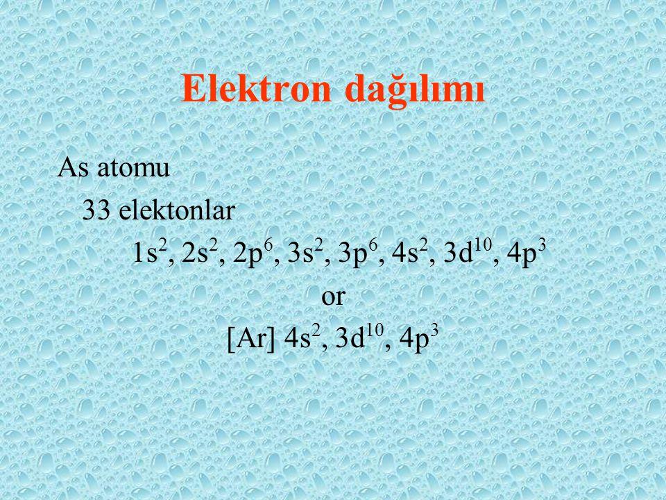 Elektron dağılımı As atomu 33 elektonlar