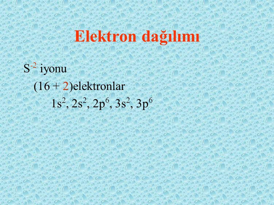 Elektron dağılımı S-2 iyonu (16 + 2)elektronlar