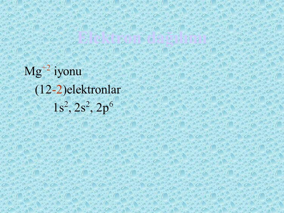 Elektron dağılımı Mg+2 iyonu (12-2)elektronlar 1s2, 2s2, 2p6