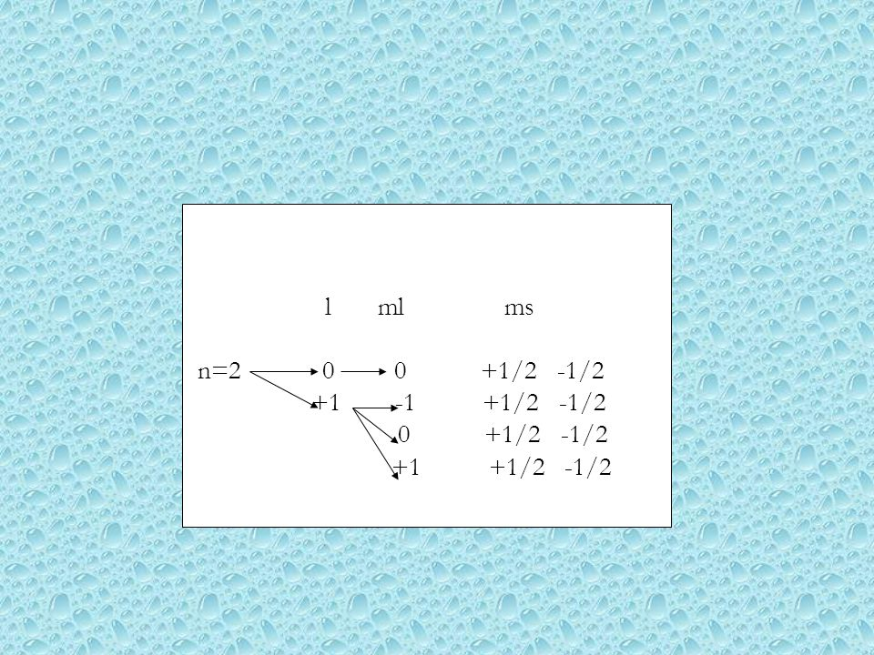 l ml ms n=2 0 0 +1/2 -1/2. +1 -1 +1/2 -1/2.