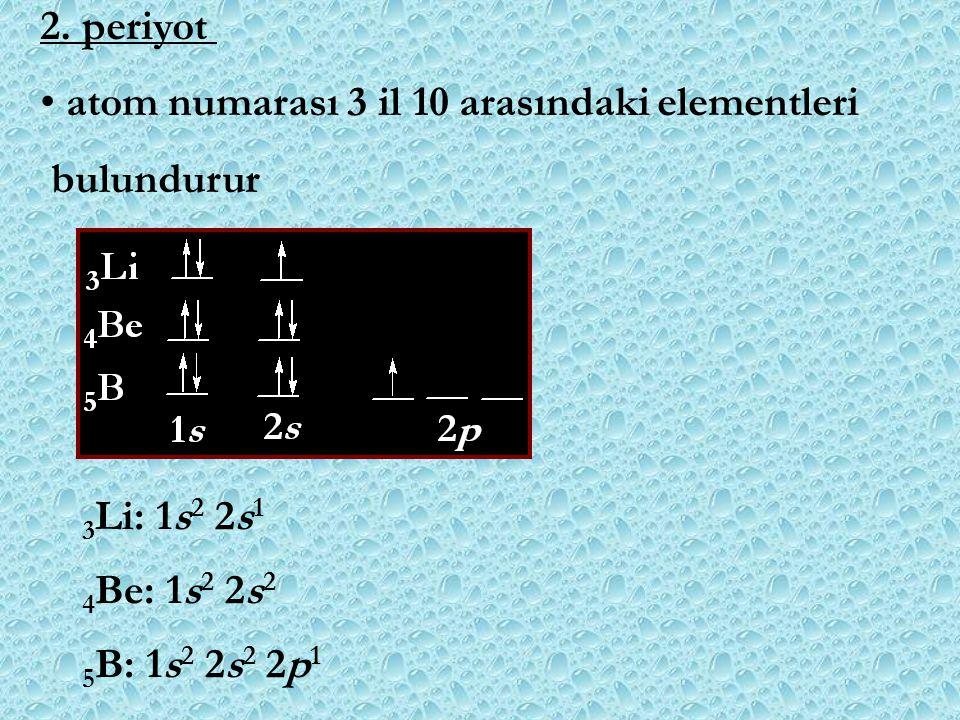 2. periyot atom numarası 3 il 10 arasındaki elementleri. bulundurur. 3Li: 1s2 2s1. 4Be: 1s2 2s2.