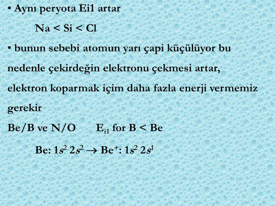 Aynı peryota Ei1 artar Na < Si < Cl. bunun sebebi atomun yarı çapi küçülüyor bu. nedenle çekirdeğin elektronu çekmesi artar,