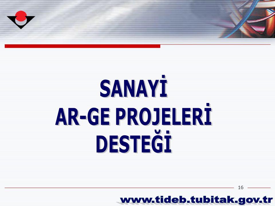 SANAYİ AR-GE PROJELERİ DESTEĞİ www.tideb.tubitak.gov.tr