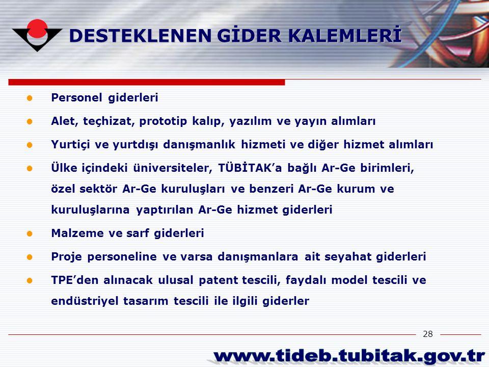 www.tideb.tubitak.gov.tr DESTEKLENEN GİDER KALEMLERİ