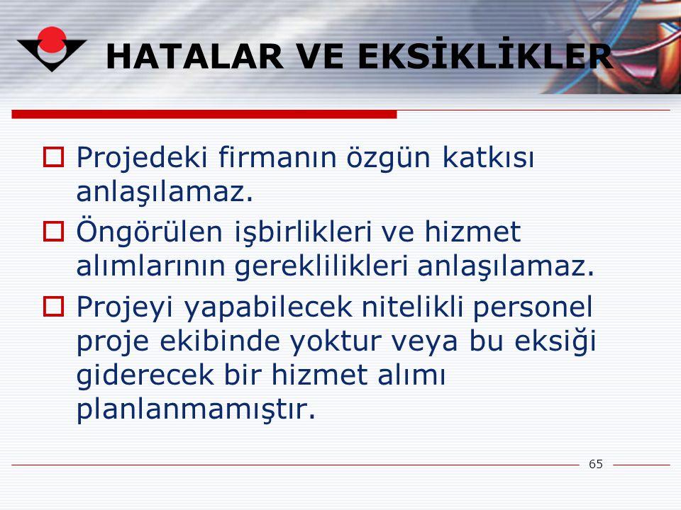 HATALAR VE EKSİKLİKLER