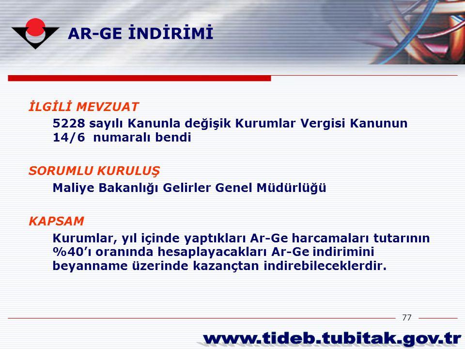 www.tideb.tubitak.gov.tr AR-GE İNDİRİMİ İLGİLİ MEVZUAT