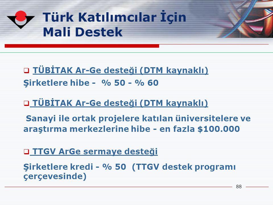 Türk Katılımcılar İçin Mali Destek