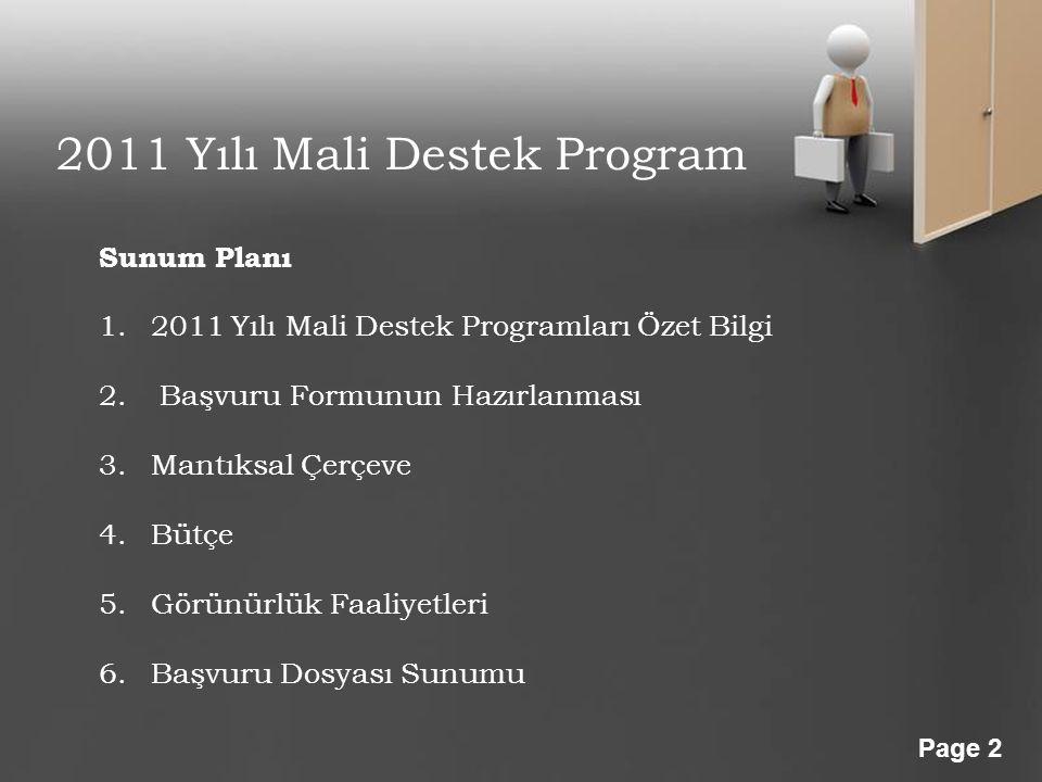 2011 Yılı Mali Destek Program