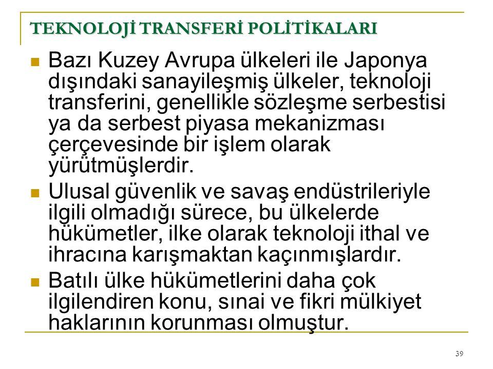 TEKNOLOJİ TRANSFERİ POLİTİKALARI
