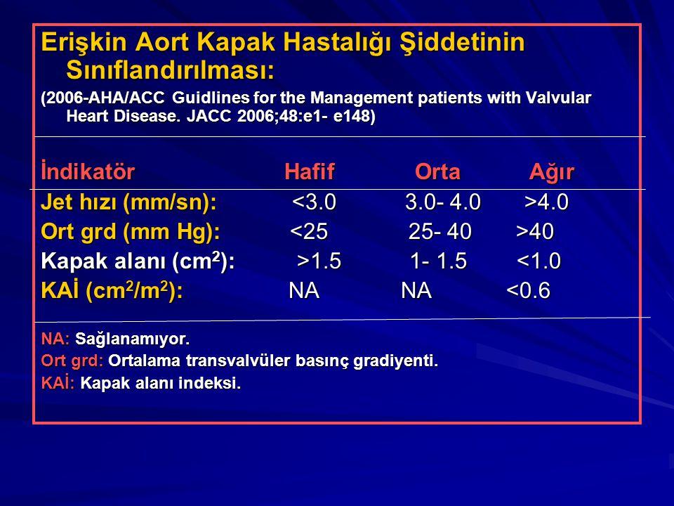 Erişkin Aort Kapak Hastalığı Şiddetinin Sınıflandırılması: