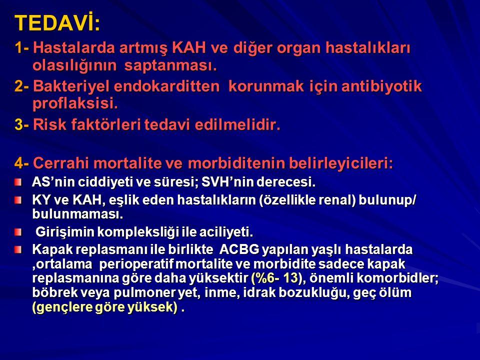 TEDAVİ: 1- Hastalarda artmış KAH ve diğer organ hastalıkları olasılığının saptanması.