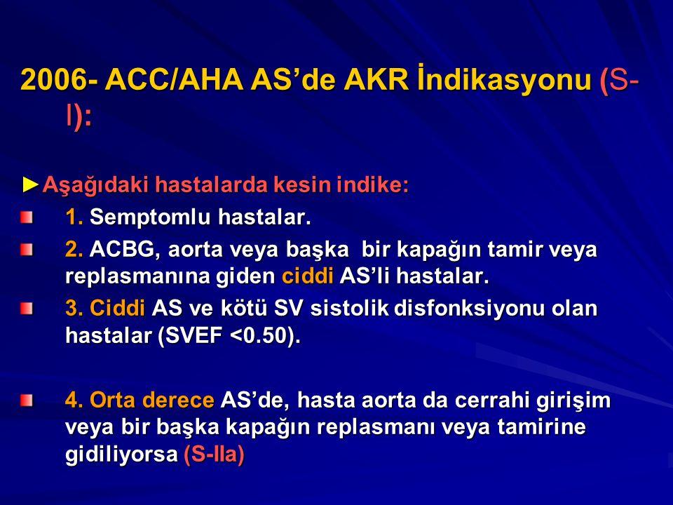 2006- ACC/AHA AS'de AKR İndikasyonu (S-I):