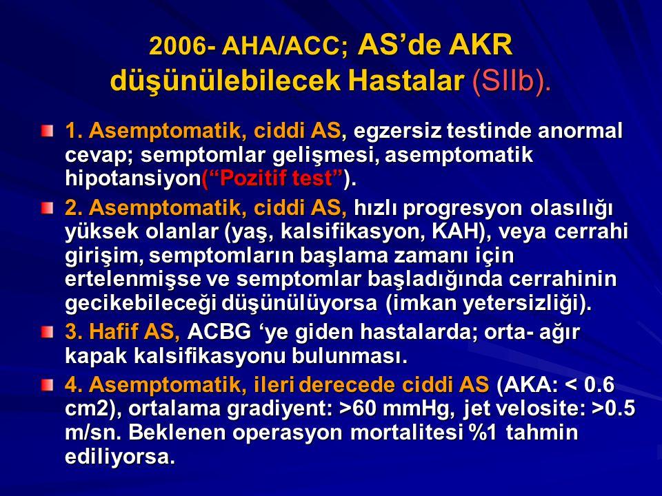 2006- AHA/ACC; AS'de AKR düşünülebilecek Hastalar (SIIb).