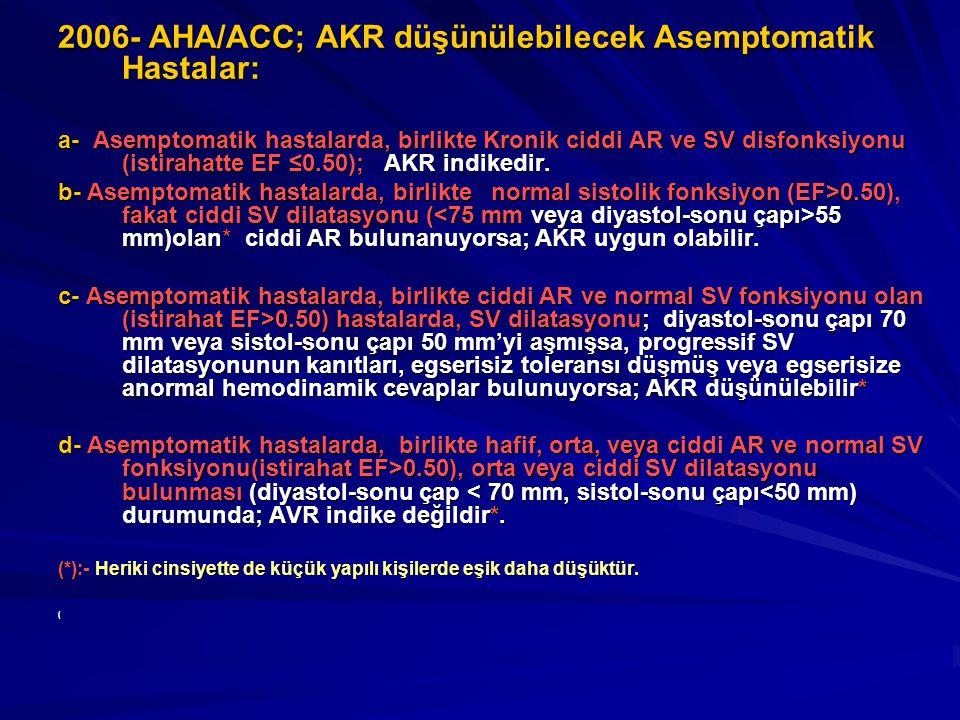 2006- AHA/ACC; AKR düşünülebilecek Asemptomatik Hastalar: