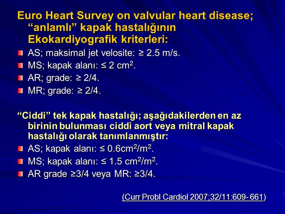 Euro Heart Survey on valvular heart disease; anlamlı kapak hastalığının Ekokardiyografik kriterleri: