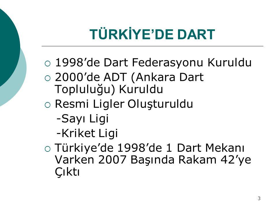 TÜRKİYE'DE DART 1998'de Dart Federasyonu Kuruldu